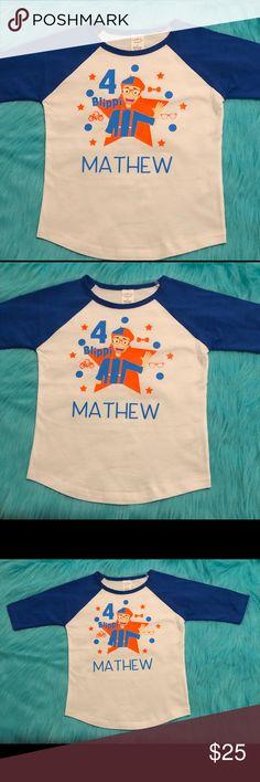 Blippi Official Child Blue /& Orange T-Shirt for Kids Size 3T