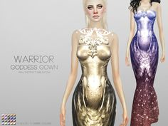 Warrior Goddess Gown - Shiny dress for your sims, comes with and without chestpiece in 20 colors. (Including 5 Ombre)  Found in TSR Category 'Sims 4 Female Formal'