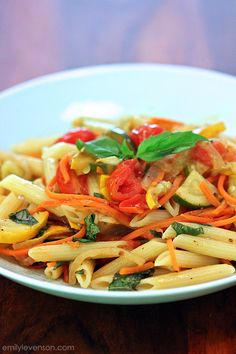 Pasta with Summer Vegetables Soy-free, gluten-free, corn-free