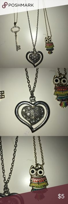 Set of 3 necklaces BUNDLE💕 3 necklace BUNDLE: gold key, owl, and silver heart. The key is hardly worn, the owl and the silver heart never worn! Great condition❤️ NOT FROM CLAIRE'S BUT COORDINATES WITH THEIR STYLE/ QUALITY Claire's Jewelry Necklaces