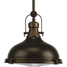 Progress Lighting�Fresnel 12.125-in W Oil Rubbed Bronze Pendant Light with Clear Shade / 12 X 10 1/2 $205