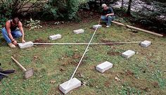 Eight solid-concrete blocks are arranged in two rows to form this on-grade foundation. Identical diagonal measurements indicate a square layout. Backyard Buildings, Backyard Sheds, Outdoor Sheds, Outdoor Decking, Decking Ideas, Garden Sheds, Patio Ideas, Outdoor Spaces, Shed Building Plans