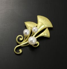 Art Nouveau style gold and pearl pendant head by KAZNESQ on Etsy, $650.00