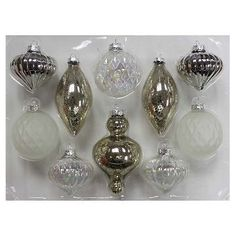 10ct Silver White Glass Christmas Ornament Set  - Wondershop™