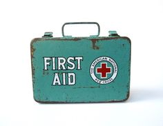 Vintage First Aid Kit, red, aqua, white