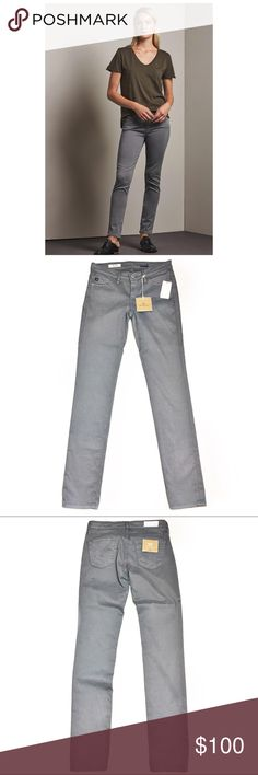 """Adriano Goldschmied The Stilt Cigarette Leg Jeans Amazing pair of Adriano Goldschmied jeans.  They are a gray color cigarette leg style.  They are brand new with tags and do have stretch.  Measurements laid flat:  waist:  13.5"""" hip:  16"""" thigh:  8"""" opening:  5.5"""" inseam:  31"""" rise:  7"""" *Measurements are approximate. Ag Adriano Goldschmied Jeans Skinny"""