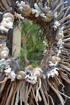Sea Swept Shell & Diritwood Sunburst Mirror by GreenThumbGarage, $380.00