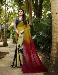 Buy Indian Vogue Self Design Beautiful Multicolor Georgette Saree Online India - 4507823