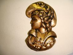 ButtonArtMuseum.com - Stamped Brass Vintage Style Button Victorian Woman in Feather Hat with Pearls