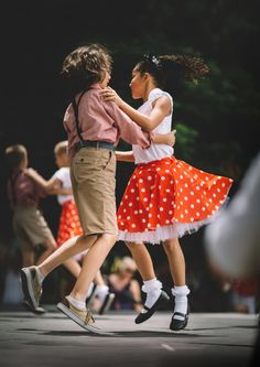 people kids children girl boy dancing performing arts shoe footwear dress uniform costume attire pair partner blur