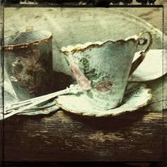Ann Wood decoupaged paper mache teacups and saucers