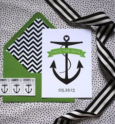 Black Nautical Wedding Theme -  Modern nautical wedding save the dates. Want to find matching wedding favors at discounted prices? Shop EventDazzle