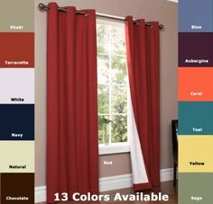 Thermologic Weathermate Insulated Grommet Top Curtains Blackout Curtains, Panel Curtains, Insulated Curtains, Red Chocolate, Blue Khakis, See Videos, Natural Red, Save Energy