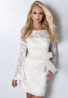 Long-sleeve, short lace wedding dress (unclear on why the big bow, but...)