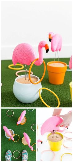 Do it Yourself Outdoor Party Games {The BEST Backyard Entertainment DIY Projects}, DIY and Crafts, DIY Projects - Fun and CUTE Outdoor Games perfect for cookouts, BBQs and potlucks - DIY Flamingo Ring Toss Game Tutorial via Sugar and Cloth. Bbq Party Games, Outdoor Party Games, Outdoor Parties, Luau Party, Diy Party, Ideas Party, Outdoor Fun, Backyard Parties, Party Crafts