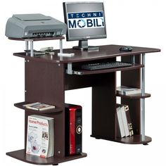 Home Office Desk Computer Space Saving Small Laptop Printer Storage Table New  #Contemporary