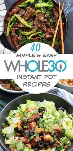 40 instant pot recipes so you cook recipes while spending less time actually cooking. instant pot recipes that are easy meal prep quick clean up and family friendly healthy recipes. Includes and Paleo instant pot chicken instapot recipes dinners Whole30 Dinner Recipes, Instant Pot Dinner Recipes, Instant Recipes, Instant Pot Beef Stew Recipe, Instant Pot Meals, Whole30 Food List, Easy Meal Prep, Easy Meals, Quick Paleo Meals