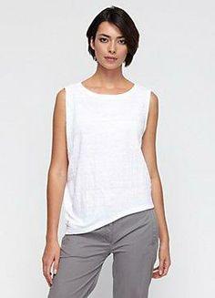 white ballet neck sleeveless asymmetrical top in organic linen jersey #eileenfisher