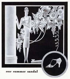 Deco shoe ad for Saks Fifth Avenue in Vogue