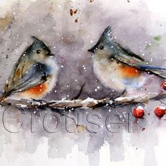 WINTER BIRDS Watercolor Print by Dean Crouser by DeanCrouserArt, $25.00