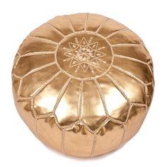 Moroccan Pouf - Gold/white Lounge
