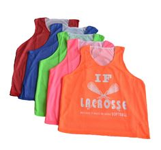 """""""If lacrosse was easy it would be called softball"""" Scoop neck mesh pinnie. 100% polyester. Check out more of our girls lacrosse apparel, here!"""
