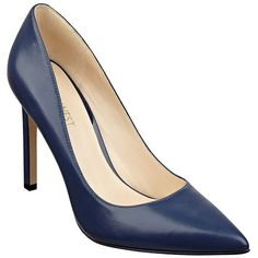 Nine West Tatiana Leather Pumps (5,280 INR) ❤ liked on Polyvore featuring shoes, pumps, navy blue, navy pointed toe pumps, pointed-toe pumps, nine west pumps, navy leather shoes and polish shoes