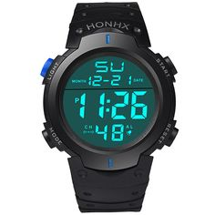 Fashion New Brand HONHX Water Resistant Watch Men's Boy LCD Digital Stopwatch Date Rubber Sport Wrist Watch #CLICK! #clothing, #shoes, #jewelry, #women, #men, #hats