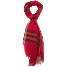 b0a643b8fa42 BURBERRY BRIT check scarf featuring polyvore, fashion, accessories,  scarves, burberry, red