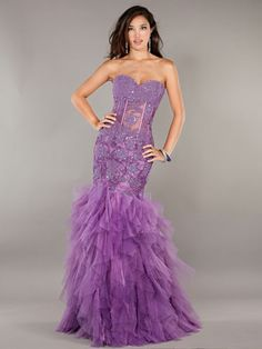 Purple Lace Mermaid-Style Dress with Tulle Skirt