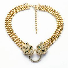 Sale 22% (10.44$) - Gold Plated Crystal Rhinestone Double Chain Leopard Head Statement Necklace