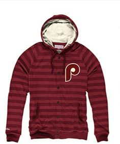 Phillies Stipe Button Front  Hoodie