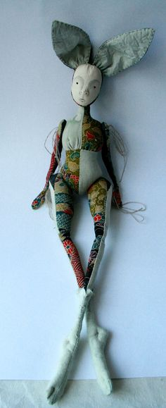 Tomo Kimono silk Cloth Art Doll Rabbit by ThePaleRook on Etsy
