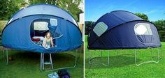 Trampoline tent for summer sleepovers. We don't even have a trampoline but i still think this is awesome! Many fond memories of sleeping out on a trampoline but the tent would keep bugs out Cool Baby, Trampoline Tent, Trampoline Ideas, Plein Air, Outdoor Fun, Outdoor Ideas, Outdoor Decking, Outdoor Lounge, Outdoor Projects