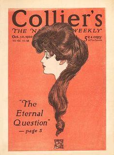 "1920 October 30 cover by Charles Dana Gibson ""The Eternal Question"" News Magazines, Vintage Magazines, Illustrations, Illustration Art, John Sullivan, Charles Dana Gibson, Gibson Girl, Art History, 5 D"