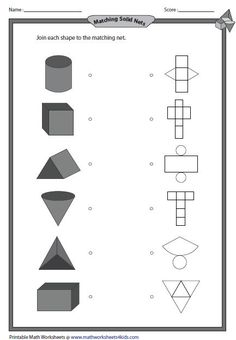 For use as a matching game or a worksheet, a set of 7 3D