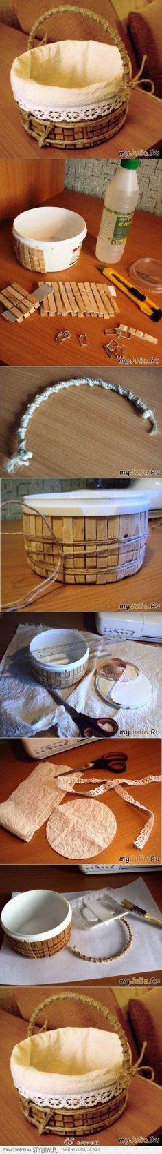 Basket made from clothes pins & an empty plastic tub.