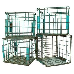 Vintage Aqua Metal Milk Crates