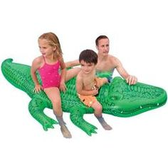 Intex Giant Gator Ride On Inflatable Pool Float Vinyl Green