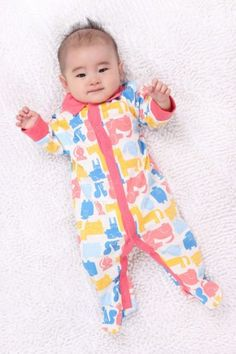 Unisex Baby Animal Footed Rompers Lapel Design Long Sleeve 0-24 Months