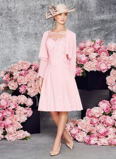 Kleider für die Brautmutter - $126.69 - A-Linie/Princess-Linie U-Ausschnitt Knielang Chiffon Kleid für die Brautmutter mit Applikationen Spitze (0085097338)