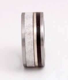 Wedding Band  Titanium Ring with gold antler ebony by aboutjewelry, $420.00