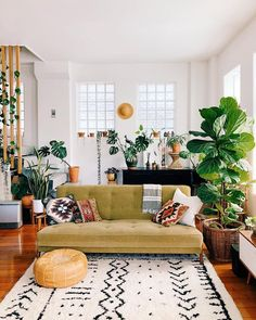 Living Room Decoration With Plants Ideas You'll Like; Living Room Decoration With Plants; Plants In Living Room; Living Room With Plants Deocr; Boho Living Room, Home And Living, Cozy Living, Modern Living, Living Room With Plants, Living Room Wooden Floor, Home Decor With Plants, Green Living Rooms, Hipster Living Rooms