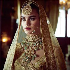 Sabyasachi just launched his 2020 new bridal collection. Sabyasachi Sultana Wedding Lehengas come in gorgeous new shades and you've got to see the dupatta! Indian Bridal Lehenga, Indian Bridal Fashion, Indian Wedding Jewelry, Indian Jewelry, Sabyasachi, Lehenga Choli, Bridal Looks, Bridal Style, Desi Wedding