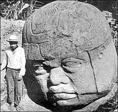 I'd love to stand next to an Olmec head. I wonder how hard it would be for me to carve this in my backyard. Ancient Ruins, In Ancient Times, Ancient Artifacts, Les Aliens, Aliens And Ufos, National Geographic, Aliens History, Mesoamerican, Inspirational Artwork