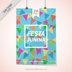 Colorful festa junina poster with garlands Free Vector