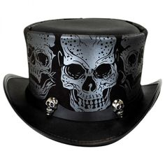 Silver Skull Leather Top Hat ❤ liked on Polyvore featuring accessories, hats, tan top hat, skull hat, american hats, leather hat and top hat