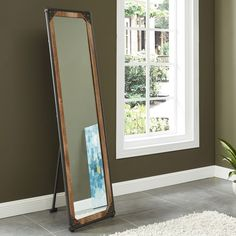 Mia Black Tall Wooden Vintage Finish Floral Scrolls Full Length Wall Mirror