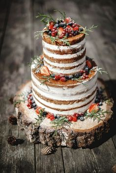 A beautiful wedding cake on a wooden table
