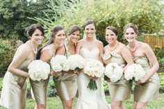 Bridal party in Annapolis - Naval Academy wedding and Quiet Waters reception with bridesmaids bouquets